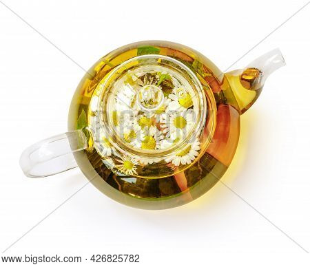 Glass Teapot With Tea, Mint Leaves And Chamomile Isolated. Top View Flat Lay. Chamomile Teapot. Hot