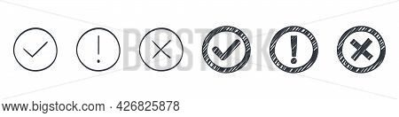 Check Marks Collection. Drawn Icons Of Check Marks. Checkbox Icons And Sketch Check Marks. Vector Il