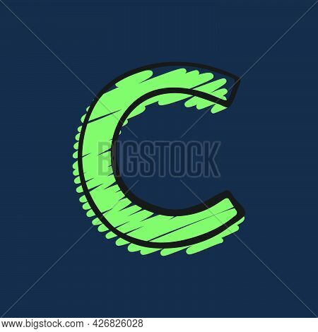 Letter C Logo Hand-drawn With Felt-tip And Marker Strokes. Perfect To Use In Any Comic Strip Pages,