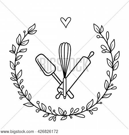 Bakery Label Design. Kitchen Tools In A Floral Wreath And A Heart. Vector Illustration - Logo For Ba