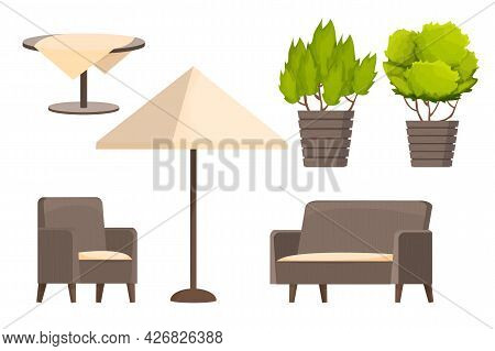 Backyard Furniture Set, Comfortable Armchair, Sofa, Parasol, Table With Tablecloth And Plants In Car