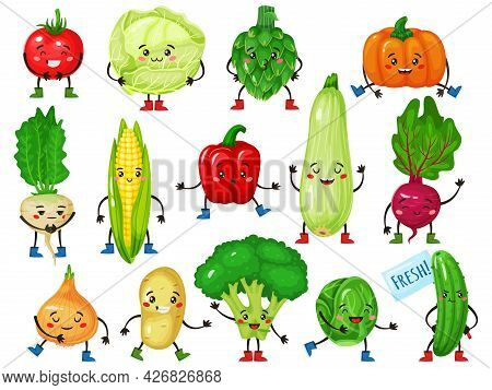 Vegetable Characters. Cute Broccoli, Tomato, Pumpkin, Cucumber, Corn, Cabbage With Smiling Faces. Fu