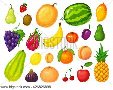 Cartoon Fruits. Lemon, Strawberry, Banana, Orange, Apple, Watermelon, Peach, Pineapple, Mango, Grape