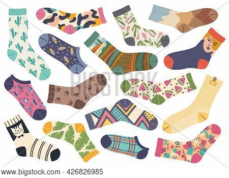 Socks. Cute Fashionable Socks With Various Cute Trendy Designs And Patterns. Stylish Cotton Sock, Fa