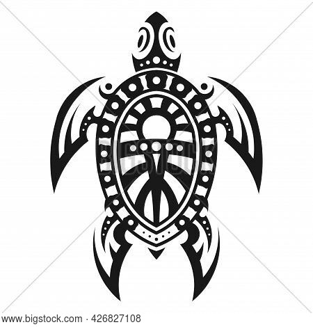 Symbolic Monochrome Image Of A Turtle. Sample Drawing For Tattoo. Icon. Emblem