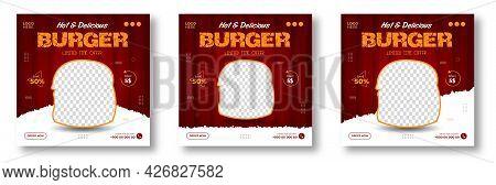 Burger Social Media Post Banner Design Template. Burger Social Banner, Burger Banner Design, Fast Fo