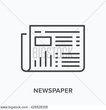 Newspaper Flat Line Icon. Vector Outline Illustration Of Gazette. Black Thin Linear Pictogram For Ne