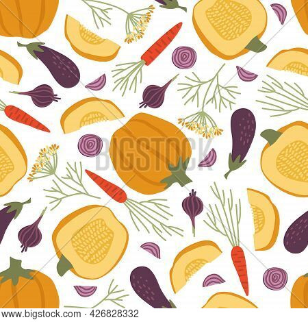Seamless Pattern Of Autumn Vegetables On A White Background. Pumpkin, Carrot, Eggplant, Onion, Dill