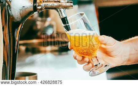 Bartender Pours The Beer Into A Glass From The Tap.