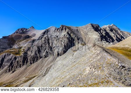 Image Of A High Altitude Footpath In Rocky Mountains In The Southern French Alps.