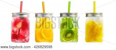 Bright Colorful Refreshing Summer Drinks In Mason Jars With Lid And Straws Isolated On A White Backg