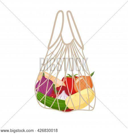 Zero Waste String Bag Vector. No Plastic. Eco-friendly Zero Waste Template. Recycling Concept. Envir