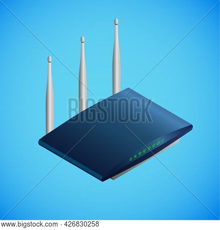 Realistic Router In Isometry. Vector Isometric Illustration Of Electronic Device, Modem With Green L
