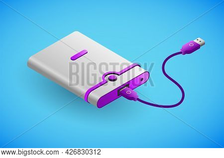 Realistic External Hard Drive In Isometry. Vector Isometric Illustration Of Electronic Device, Exter
