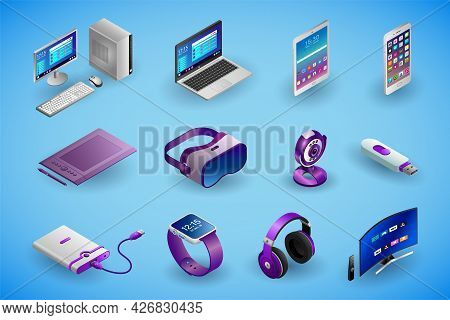 Realistic Electronic Devices And Gadgets In Isometry. Vector Isometric Illustration Of Electronic De