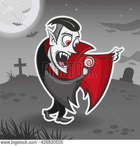 Vampire Dracula Cartoon Character. Halloween Sticker. Halloween Monster. Vector Holiday Illustration