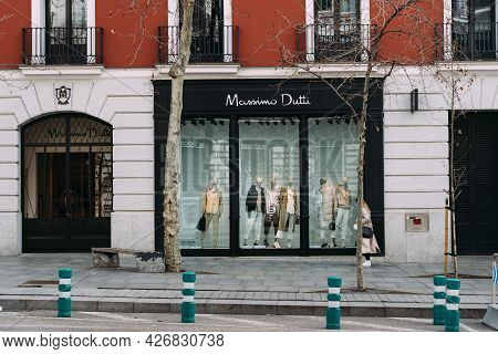 Madrid, Spain - March 7, 2021: Fashion Storefronts In Serrano Street. Salamanca District Is Well Kno