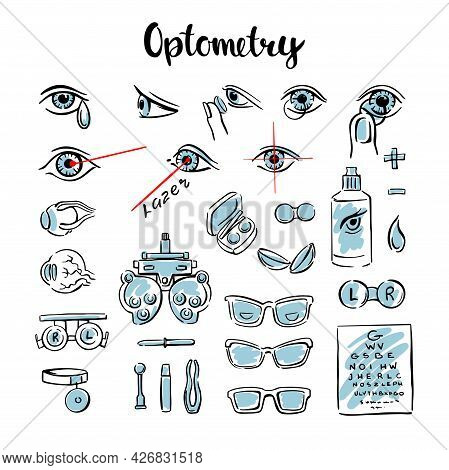 Optometry Is A Set Of Doodles, With Eyes, Lenses And Glasses For Medical Information Graphics. Manua