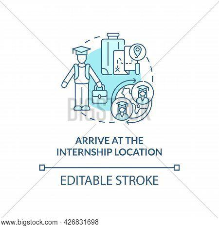 Arrive At Internship Location Concept Icon. International Internship Procedure Step Abstract Idea Th