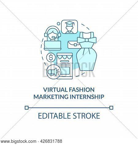 Virtual Fashion Marketing Internship Concept Icon. Remote Working Opportunity For Fashion Designer A