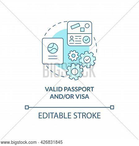 Valid Passport And Visa Concept Icon. International Internship Requirement Abstract Idea Thin Line I