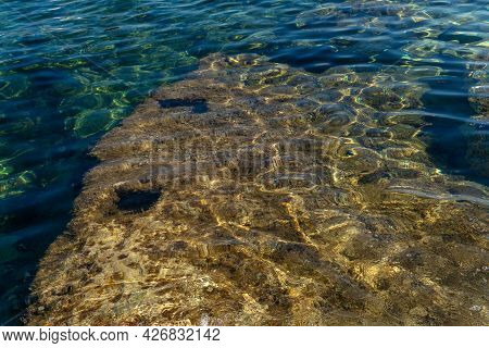 Texture Of The Mediterranean Sea On A Sunny Morning With Clean And Clear Water
