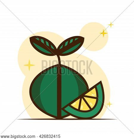 Lime Flat Icon, Fresh Juicy Fruit. Lime Slice. Vitamins In Fruits. Vector.