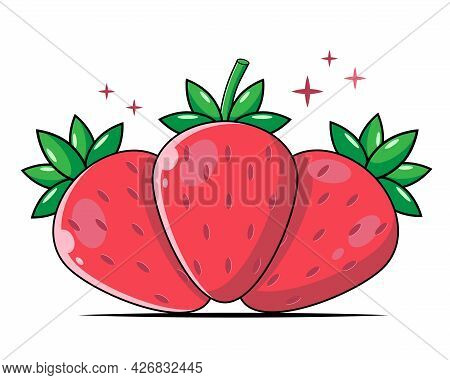Flat Color Set Of Red Strawberries. Bright Vector Strawberry Icons. Summer Fruits, Natural Food. Str