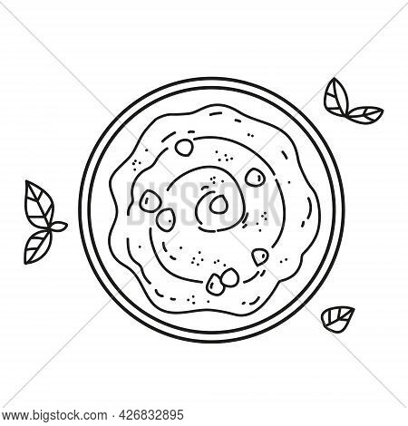 Chickpeas Hummus Icon. Plate With Hummus Top View. Line Illustration Vector. Isolate Icon On White B