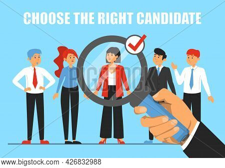 Giant Hand Choosing Candidate For A Job