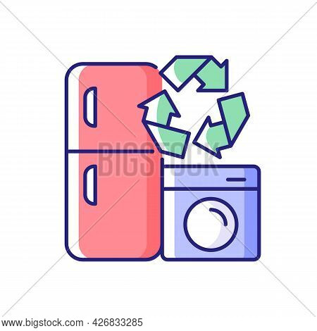 Appliance Recycling Program Rgb Color Icon. Household Electrical Waste Collection For Reuse. Industr