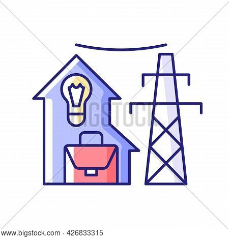 Electric Utility Rgb Color Icon. Electricity Power Industry Production. Resource Supply For Resident