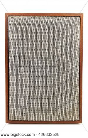 Single Vintage Speaker With Fabric Grill Isolated On White Background.
