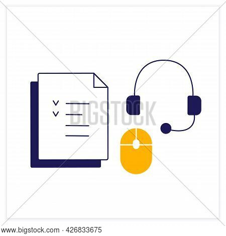 Devices Color Icon. Headset With Microphone And Headphones, Computer Mouse And Tasks To Do. Work Atm