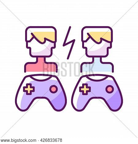 Player Versus Player Games Rgb Color Icon. Isolated Vector Illustration.. Users Compete Against Each