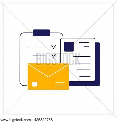 Documentation Color Icon. Checklists And Letters For Work Questions. Task And Other Documents.office