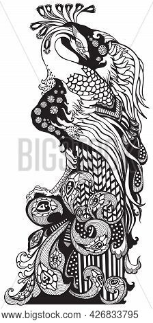 Chinese Phoenix Or Feng Huang Fenghuang Mythological Bird. Black And White Graphic Style Vector Illu