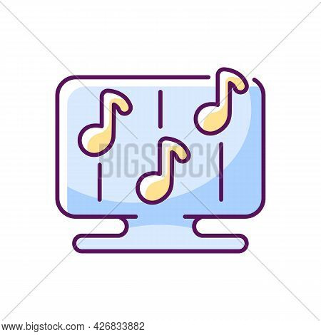 Rhythm Games Rgb Color Icon. Isolated Vector Illustration.. Special Game Of Music Theamed Genre. Dig