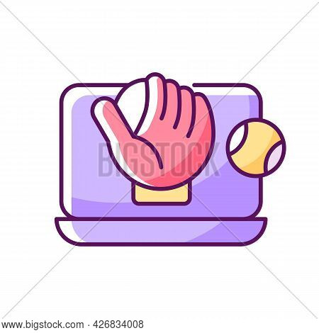 Online Baseball Games Rgb Color Icon. Isolated Vector Illustration.. Digital Version Of Sport Matche