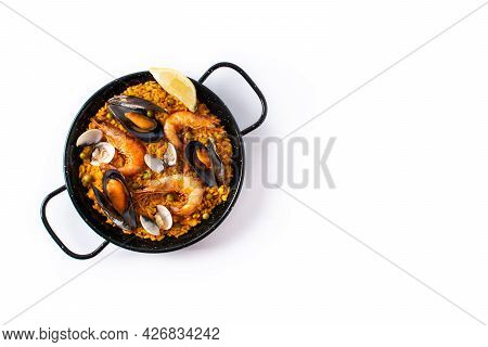 Traditional Spanish Seafood Paella Isolated On White Background. Top View.copy Space