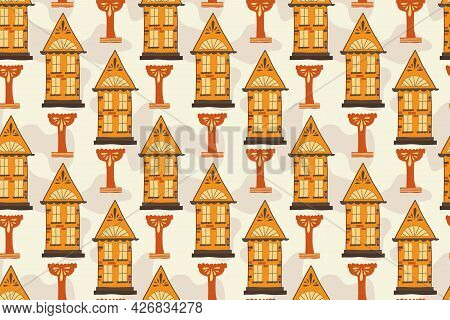 Seamless Pattern With Handmade Houses, Handdraw. A House With Windows And Roofs, A Bowl For A Founta