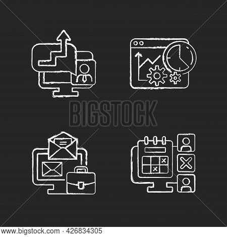 Work Trackers Chalk White Icons Set On Dark Background. Time Management Strategy. Employee Absence M