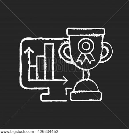 Performance Evaluation Chalk White Icon On Dark Background. Assessment For Business Project. Profess