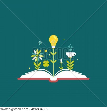 Open Book With Flowers, Bulb, Cup And Sprouts Isolated On Blue Background. Vector Flat Illustration.