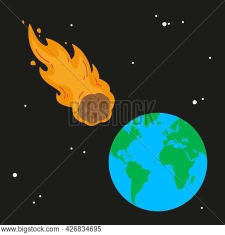 Meteor And Earth. Fireball Flies On Planet. Approaching Catastrophe. Fiery Comet. Coming End Of Worl