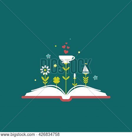 Open Book With Grass And Cup With Red Hearts. Isolated On Blue Background. Bibliophile Flat Icon. Ve