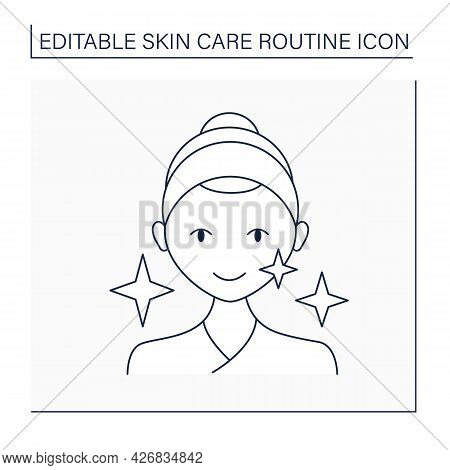 Cosmetology Line Icon. Bright And Healthy Face. Perfect Skin Tone After Beauty Procedure. Shining. S