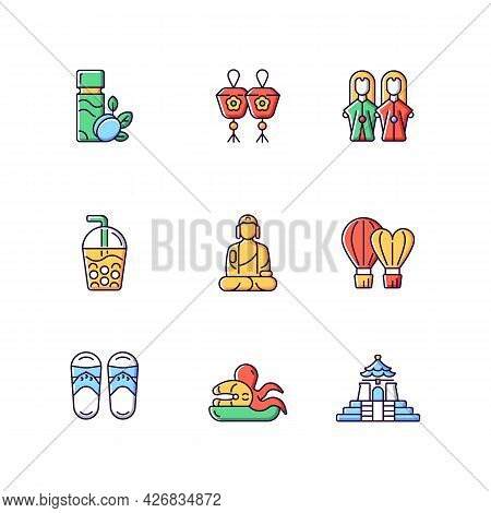 Traditional Taiwanese Rgb Color Icons Set. Isolated Vector Illustrations. Buddha Great Journey. Buda