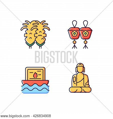 Taiwanese Culture Rgb Color Icons Set. Isolated Vector Illustrations. Fried Squid. Taiwan Mini Sky A