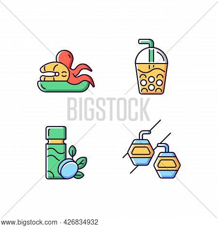 Taiwan Entertainment Rgb Color Icons Set. Isolated Vector Illustrations. Asian Holidays. Bubble Tea